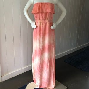 Gypsy 05 Pink Tie Dye 100% Silk Maxi Tube Dress